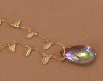 Faceted mystic topaz briolette pendant necklace with prehnite
