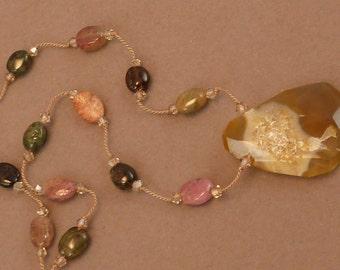Druzy quartz pendant with tourmaline hand knotted on silk