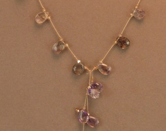 Moss amethyst faceted briolette lariat with crystal