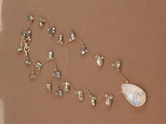 Faceted moonstone briolette pendant necklace