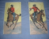 2 Vintage Paint By Number Cowboy and Horse