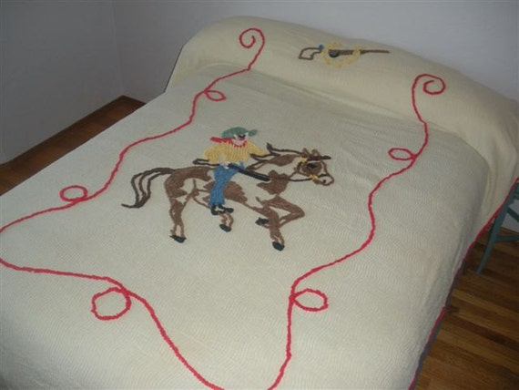 2 Matching Vintage Chenille Cowboy Horse Twin Bedspread