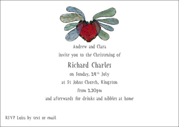 8 Christening invites with envelopes 'Dragonflies' Heart'