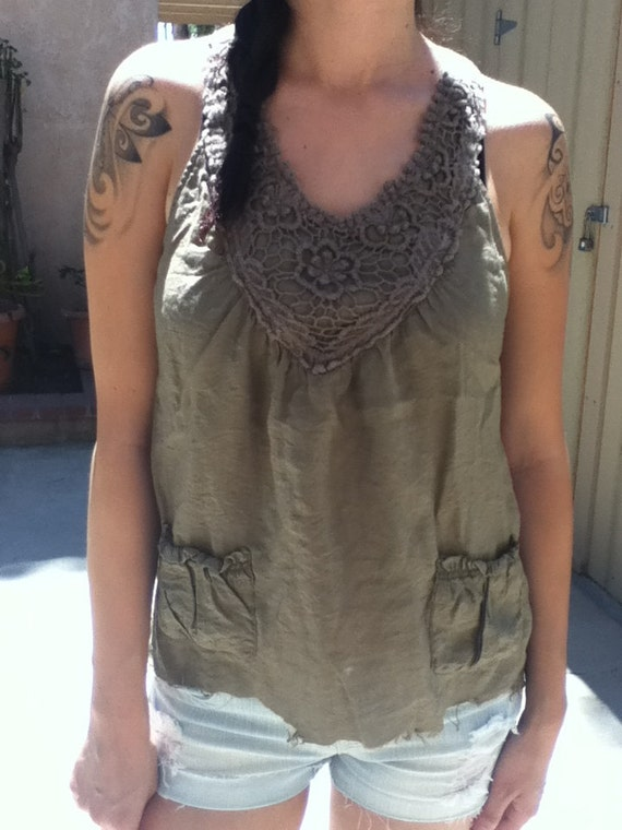Reconstructed green tank top
