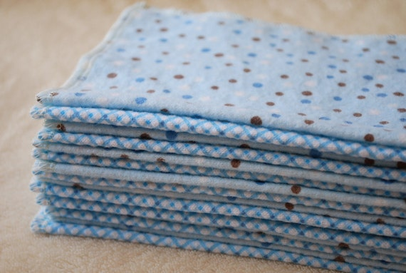 Reusable Cloth Wipes - 32 Count- Blue & White Polka Dots