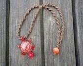 Glass Turtle Brown Hemp Necklace