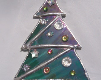 Green Stained Glass Decorated Christmas Tree Ornament