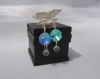 Crystal Rainbow Earrings In Silver