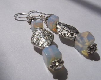 Rainbow Moonstone Earrings in Sterling Silver Wire Wrapped