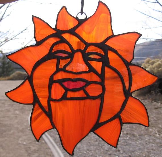 "Sun Suncatcher in Orange Stained Glass     7"" x 7"""
