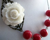 Nautical Necklace, White Flower Necklace,Bib Necklace, Red Necklace, Bridal Jewelry, Bridesmaids Jewelry,  Summer Necklace