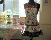 Valentine Womens Full Apron with hearts, dog and cats in red black and white vintage style