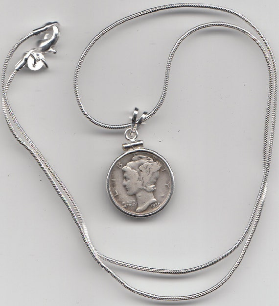 mercury dime necklace on sterling silver chain by