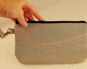 Grey and Pink 80's Wave Print Wristlet, Small Clutch