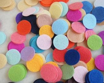 100 Felt Circles - 1 inch 50 Colors