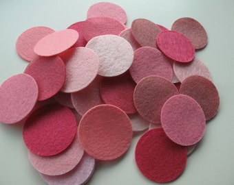 100 Felt Circles - 1 inch - Series of Pink