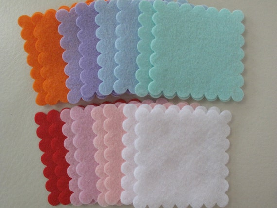16 Felt Scoplled Squares - 1.7 inch x 1.7 inches