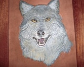 Amazing Carved and Painted Leather Wolf