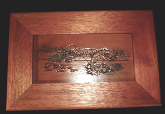 Carved Fishing Scene in Leather with jumping bass
