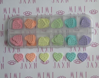 60pc Rainbow Heart Cookie Flatbacks Polymer Clay Decoden DIY Set