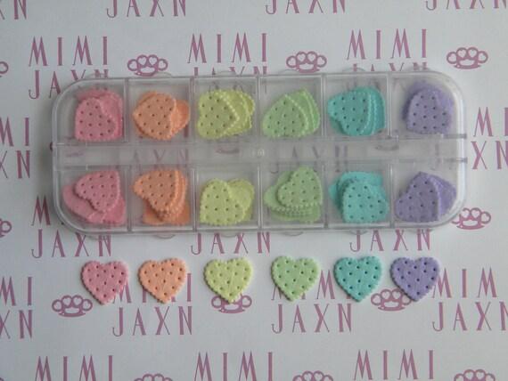 60pc Rainbow Heart Cookie Flatbacks Polymer Clay Decoden DIY Set