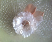 RESERVED for Vickie- PLEASE do NOT purcase-White and Ivory Lace Flower with Blush Detailing and Bird Cage Veil