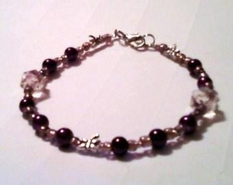Velvet Plum beaded bracelet with sliver dragonfly detail beads.