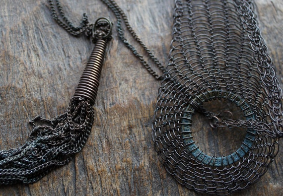 Industrial Copper Wire Crocheted BELT and NECKLACE with Tassel/Unusual Asymmetric Belt&Tie Necklace/Unusual Accessories. Made to order item!