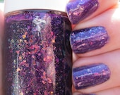 Invitation to Endless Wonder. Custom Purple Nail Polish With Glitter Flakies and Shimmer.
