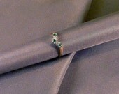 80's Diamond and Emerald and 9ct Gold Wishbone Ring
