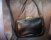 50's Black Leather Kelly Bag