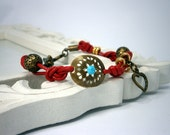 Modern leather bracelet, red color, for her. unique style bracelet handmade with special design.