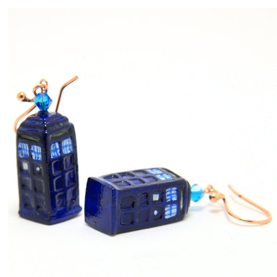 Doctor Who - TARDIS Copper Dangle Earrings with Crystals