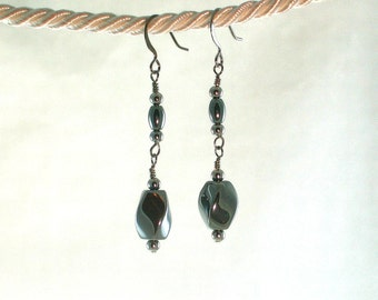 Hematine-Swirls-Gunmetal-Earrings