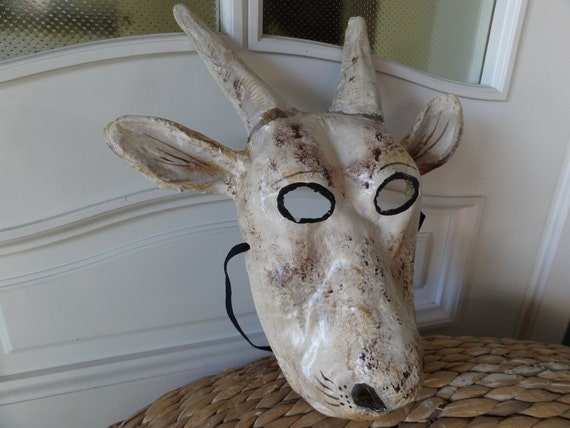The White Prince Papier mache animal head goat mask