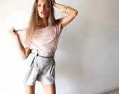 Feminine Top with Short Sleeves , Casual Chic Women Top , Pink