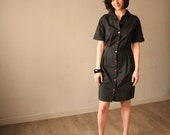 Black Dress , knee length Dress with Red Buttons