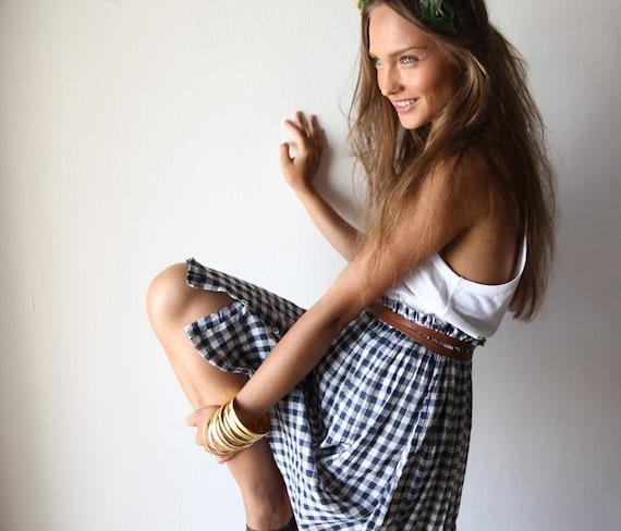 Schoolgirl Skirt, Blue Plaid Skirt with Elastic Waistband