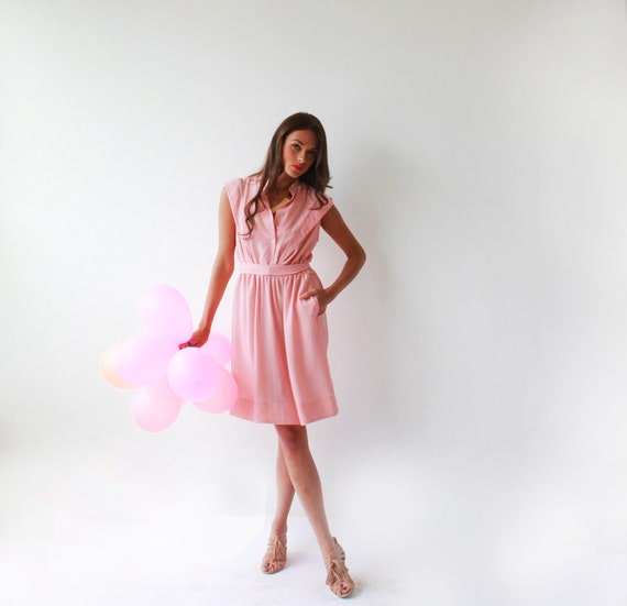 Pink Dress , with buttons , knee length Dress , Summer Dress