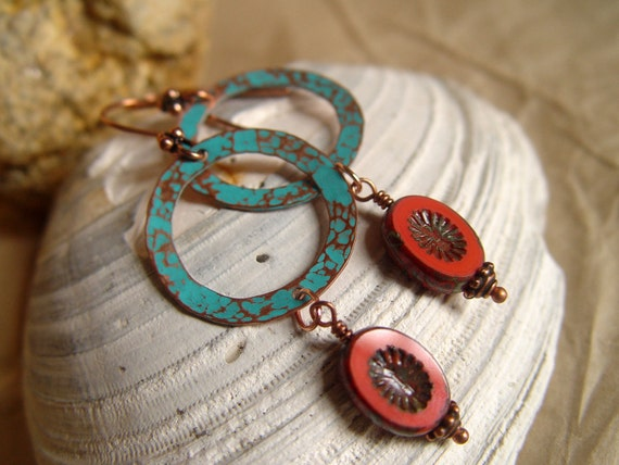 FREE US Shipping. Coupon code FREEUS - Verdigris Patina Hammered Copper Earrings with Red Czech Picasso Beads