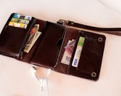 Dark Chocolate  Trifold leather iphone wallet  wristlet  with zipper