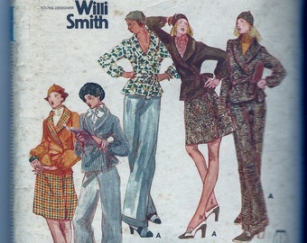 Butterick Young Designer WILLI SMITH PATTERN No. 3245 Ensemble: Jacket/Trousers/Skirt/Hat - Size 8-FreeShipping