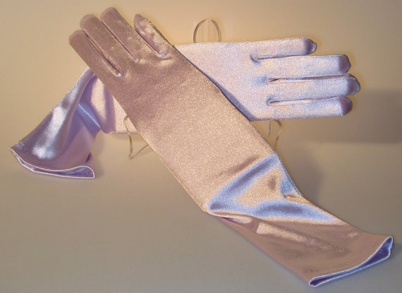 Opalescent LAVENDER S-t-r-e-t-c-h SATIN Gloves - Pastel Orchid - Fits All