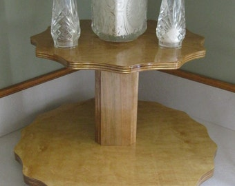 Wood Lazy Susan 2 Tier - 16in bottom 12in top