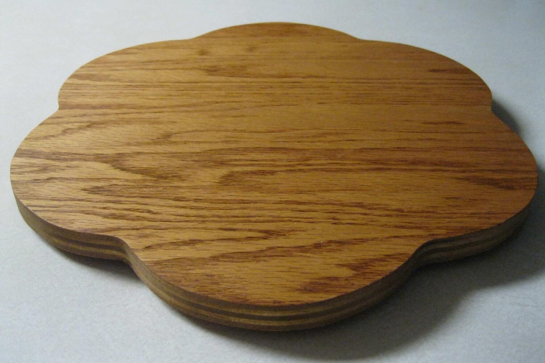 Wood lazy susan flower oak faced plywood
