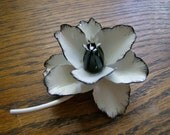 Classic Chic Black and White Enamel Flower Brooch