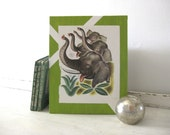 The Saggy Baggy Elephant - Vintage Golden Book, 8 x 10 Children's Lime Green Art - Canvas Panel Decoration - FREE SHIPPING - TAGT Team
