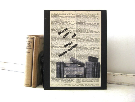 Latin Quote - Plato & Truth - 8 x 10 Black Canvas Art Panel - Vintage Dictionary Page - FREE SHIPPING - White Barn Art