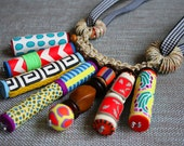 Spread of Color: ONE OF A KIND Colorful Handmade Polymer Clay Necklace -with Macrame detail