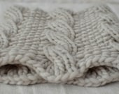 Big, thick cabled handknit cowl in soft alpaca and merino